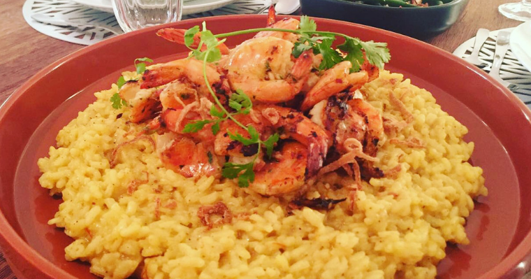 Biryani Flavoured Risotto with Butterflied Prawns