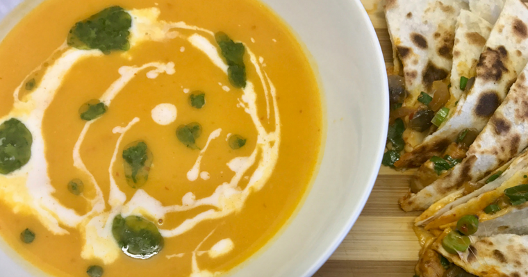Thai Butternut Soup & Quesadilla's